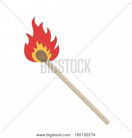 Burning match on a white background. Vector illustration. Match with fire