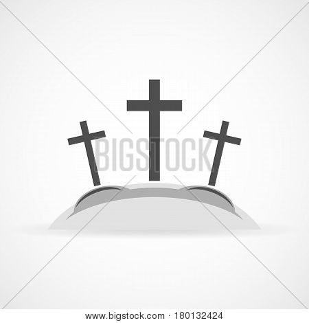 Gray Calvary icon with three crosses on light background. Vector illustration. Calvary sign in flat design.
