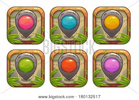 Cartoon app icons with stone map pointers. Vector assets for web or game design.