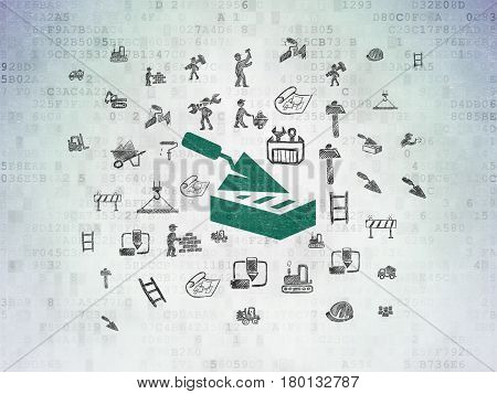 Building construction concept: Painted green Brick Wall icon on Digital Data Paper background with  Hand Drawn Building Icons