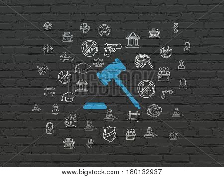 Law concept: Painted blue Gavel icon on Black Brick wall background with  Hand Drawn Law Icons
