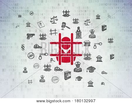 Law concept: Painted red Criminal icon on Digital Data Paper background with  Hand Drawn Law Icons