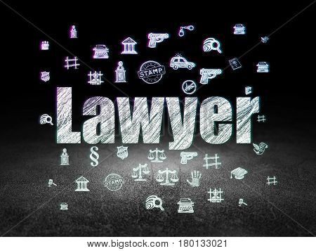 Law concept: Glowing text Lawyer,  Hand Drawn Law Icons in grunge dark room with Dirty Floor, black background