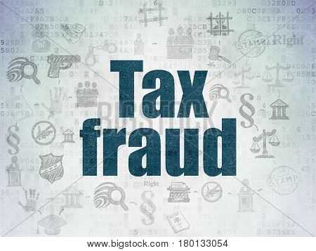 Law concept: Painted blue text Tax Fraud on Digital Data Paper background with  Scheme Of Hand Drawn Law Icons