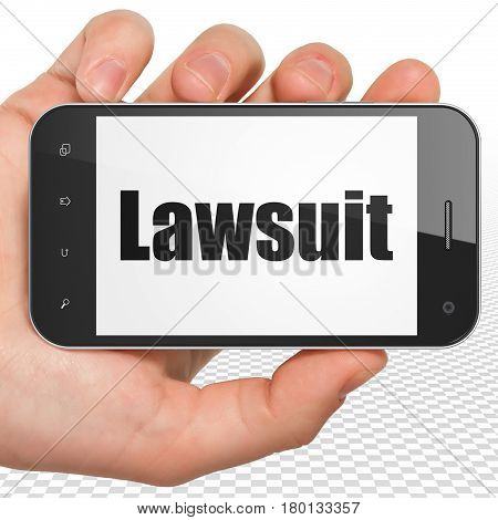 Law concept: Hand Holding Smartphone with black text Lawsuit on display, 3D rendering