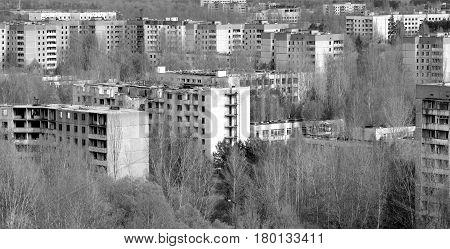 City of Pripyat in Ukraine black and white