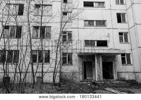 Entrance of the apartment building in Pripyat, Ukraine