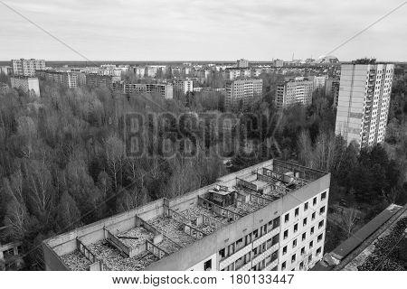 Abandoned city of Pripyat in ruins, Ukraine