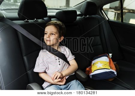 Boy into the Car Using Seat belt Protect Security
