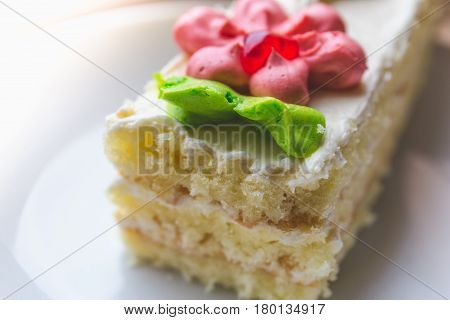 Biscuit cake decorated with red and green cream on plate close-up, delicious confection concept