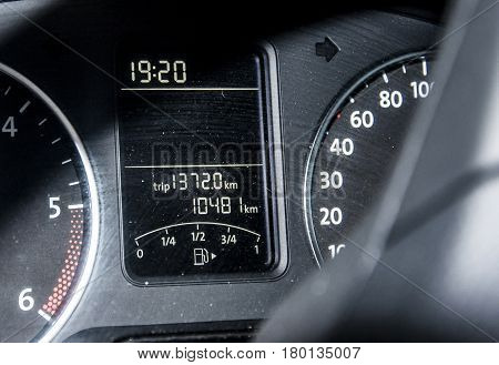 Car dashboard auto speedometer panel with trip length indicator