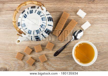 Tea, Creamy Toffee, Teapot, Lumpy Sugar And Spoon