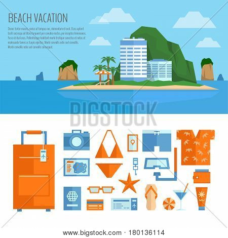 Beach Vacation Banner And Object Set. Things For Summer Travel. Traveling, Tourism, Vacation Illustr