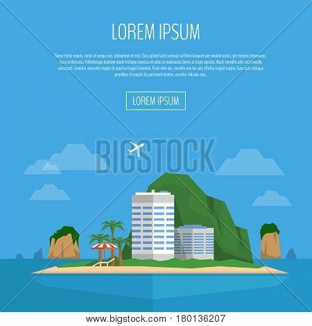 Tropical Island Web Banner. Beach Vacation. Beach, Hotel, Palm, Beach Umbrella And Chair. Flat Style