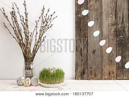 Composition For Greeting Card: Easter Eggs, Willow Branch, Grass