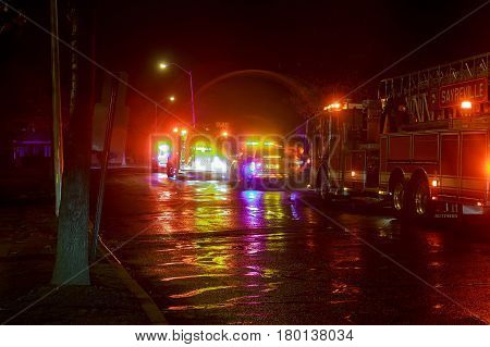 Sayreville NJ, Usa - Apryl 01, 2017: Fire engine of FDNY with lights flashing at night Fire trucks at night responding to a call.