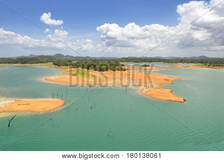 Aerial view of Gatun Lake Panama Canal on the Atlantic side