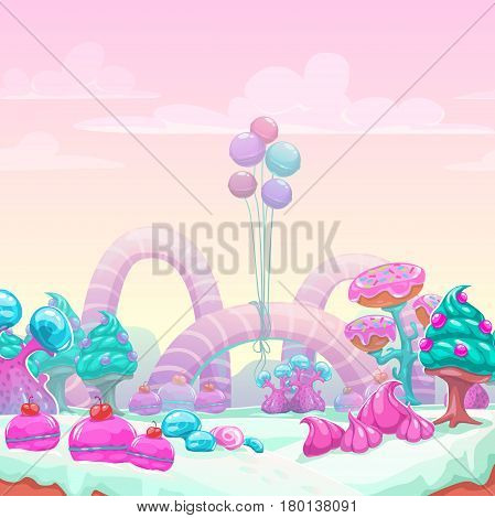 Beautiful fantasy sweet world background. Candy land vector illustration.