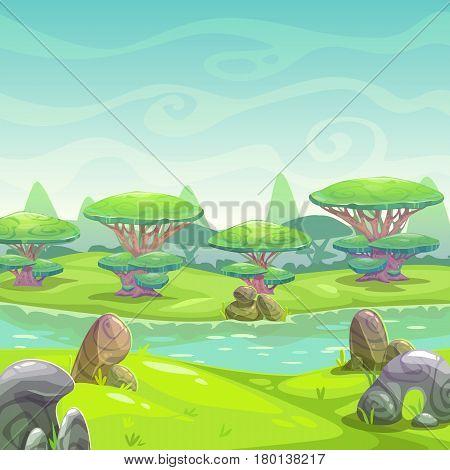 Fantasy cartoon nature landscape. Vector square illustration.