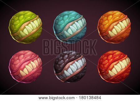Cartoon colorful monster planet set. Vector illustration.