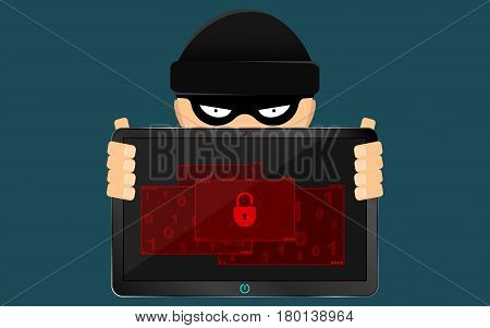 A hacker and a rascal are holding a broken tablet in their hands. A serious problem the loss of data. Bandits in a black dark mask hides his face. Flat style. Many open folders