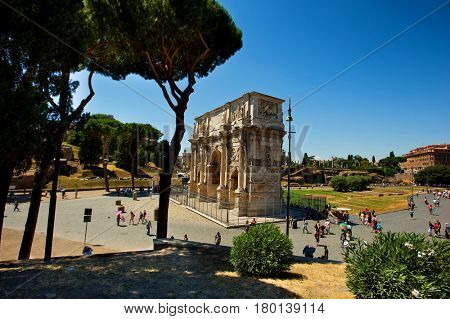 Arco di Constantino in Rome, Italy - July 10, 2012: The Arch of Constantine is a triumphal arch in Rome, situated between the Colosseo and the Palatine Hill.