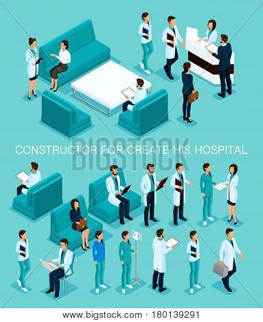 Business people isometric set to create his illustrations hospitals doctors patients reception Nurse 3D medical staff isolated on a blue background.