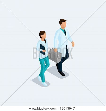 Isometric Doctor surgeon and nurse hospital staff isolated on a light background. Vektor illustration.