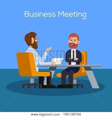 Business Meeting Concept. Conference Vector Illustration. Meeting Flat Icon. Vector stock.