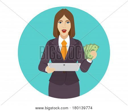 Businesswoman holding a digital tablet PC and showing cash money. Portrait of businesswoman in a flat style. Vector illustration.