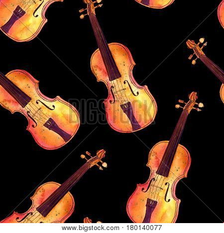 A seamless background pattern with watercolor violins on black
