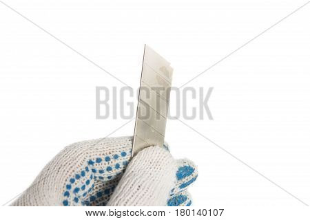 Box Cutter Isolated On White. Tools In Hand