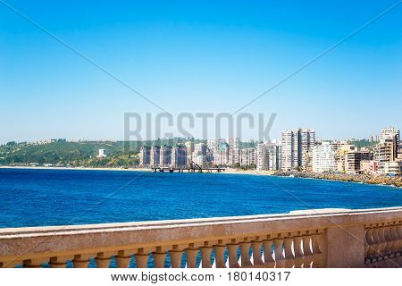 Embankment in Vina del Mar Chile with buildings in the distance