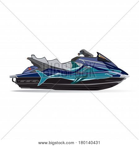 Vector illustration of water scooter isolated on white background. Jet boat in flat style.