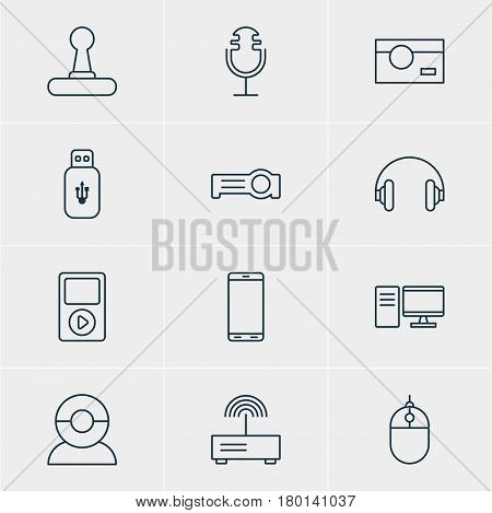 Vector Illustration Of 12 Hardware Icons. Editable Pack Of Media Controller, Cursor Controller, Sound Recording And Other Elements.