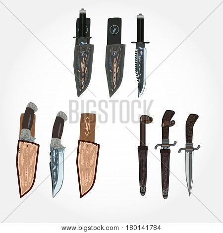 Vector set of hunting knives inside of leather sheath and without it isolated on white background flat style design.