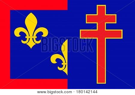 Flag of Maine-et-Loire is a department in west-central France in the Pays de la Loire region. Vector illustration