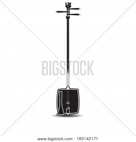 Vector illustration of shamisen isolated on white background. Black and white japanese plucked string musical instrument in flat design.