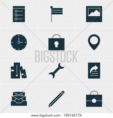 Vector Illustration Of 12 Web Icons. Editable Pack Of Document Transfer, Board, Keyhole And Other Elements.