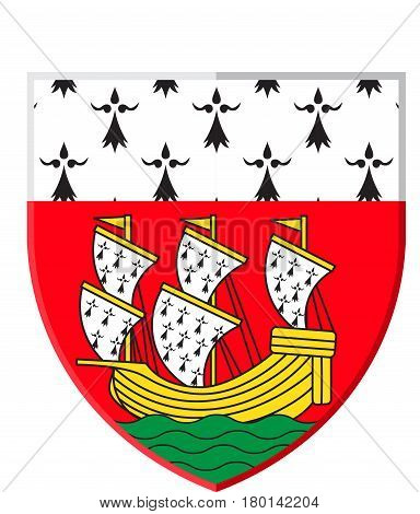 Coat of arms of Nantes is a city in Pays de la Loire is a Region of France. Vector illustration