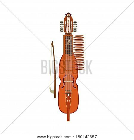 Vector illustration of traditional swedish nyckelharpa isolated on white background flat style.