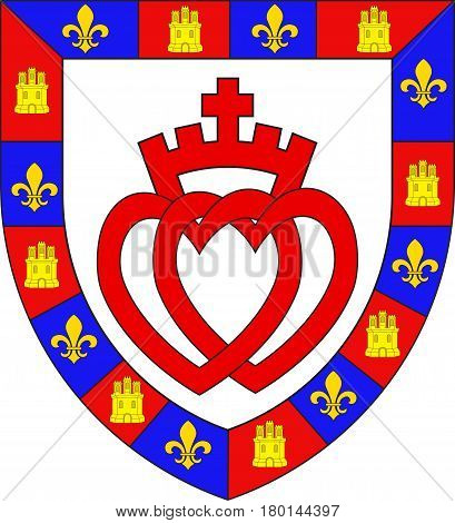 Coat of arms of Vendee is a department in the Pays-de-la-Loire region in west-central France. Vector illustration