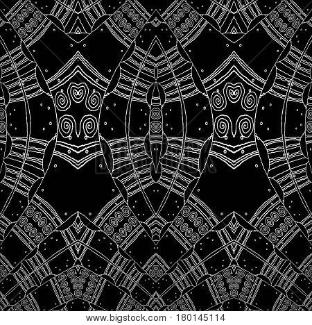 Abstract geometric background. Regular spirals pattern with wiggly lines white on black, ornate and dreamy.