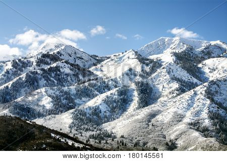 Wasatch mountain range in northern utah after a snow storm where there are many