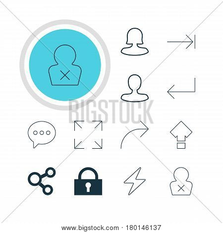Vector Illustration Of 12 Interface Icons. Editable Pack Of Man Member, Tabulation Button, Female User And Other Elements.