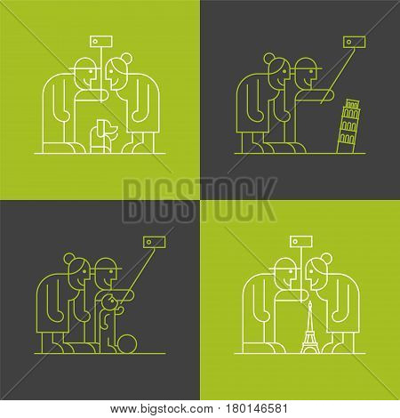 Set of old people travelling and making selfie with smartphone vector thin line pictogram, icon. Eiffel tower, Pisa tower architecture