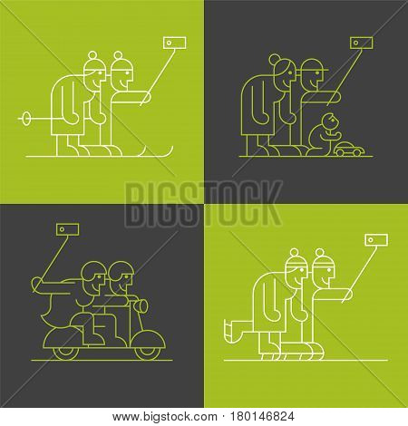 Set of old people making selfie with phone and stick vector thin line pictogram, icon. Happy, active and modern elderly people
