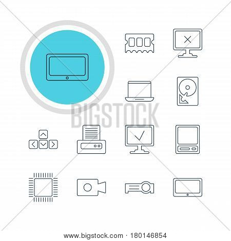 Vector Illustration Of 12 Notebook Icons. Editable Pack Of Hard Drive Disk, Printer, Microprocessor And Other Elements.