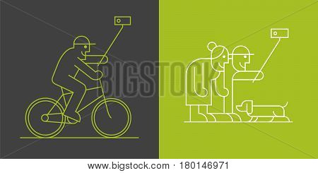 Set of old people making selfie with camera and stick linear icons. Active and modern elderly people clipart