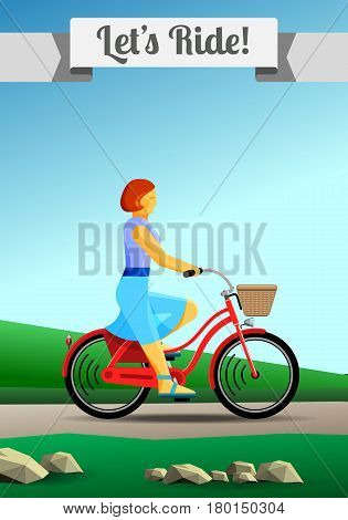 Redhead Girl Riding A Bike In Countryside Green Grass Summer Background Flat Color Vector Vertical Clipart Illustration